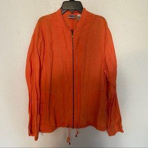 Womens Chicos Orange Linen Zip Drawstring Jacket